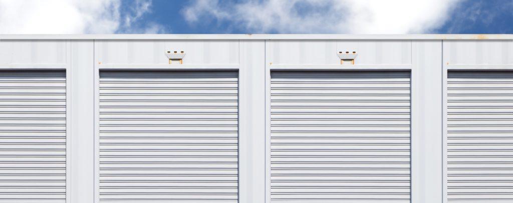 row of white storage units