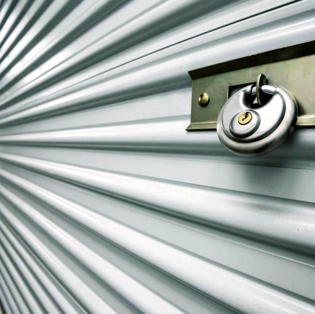 close up of storage unit door and lock